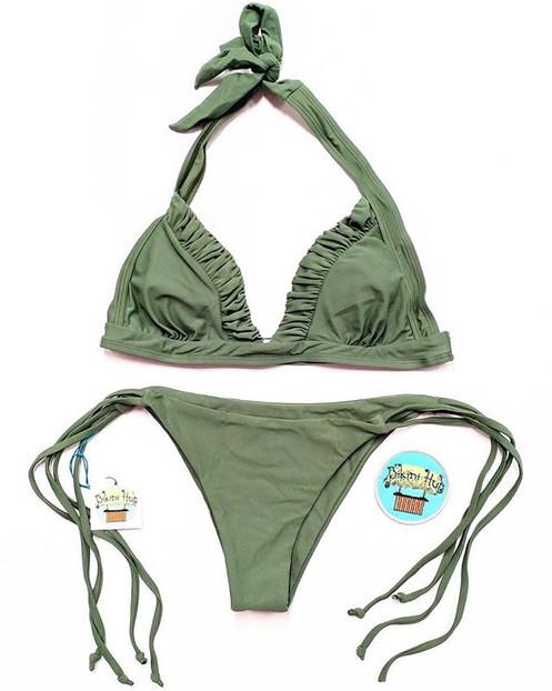 999a49beef97f Olive Green Ruched Tie String Bikini Set