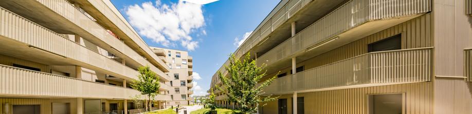 Perspective sur deux barres d'immeuble