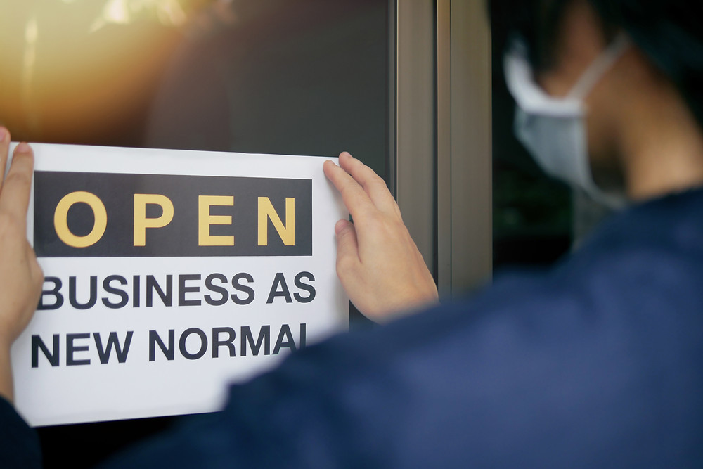 Business open as new normal window sign
