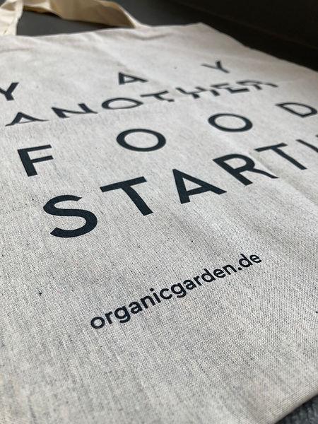 Organic Garden Tragetasche, Fokus auf Aufdruck