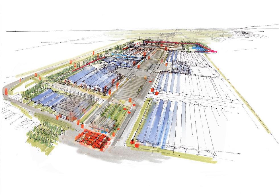 Architekturskizze der geplanten ORganic Garden Farm