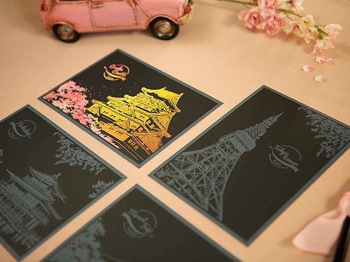Scratch Postcard - Cherry Blossom Japan