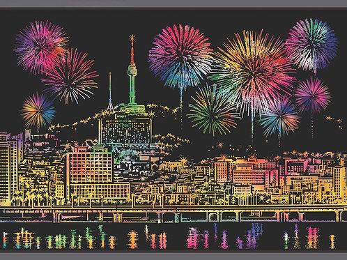 N Seoul Tower Postcard - Fireworks