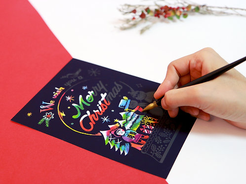 Scratch Christmas Postcard - 1Pc Set