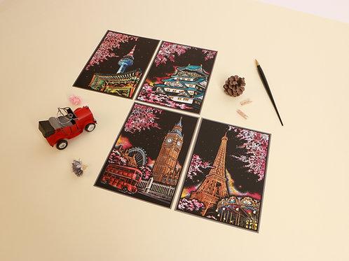 Scratch Cherry Blossom Postcard 1 Pc