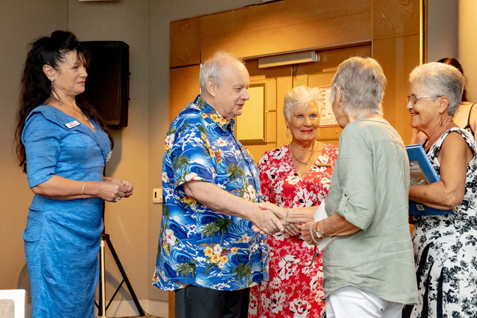 Margaret Radcliffe with Brenda Warren = President of Tugun Theatre presentation