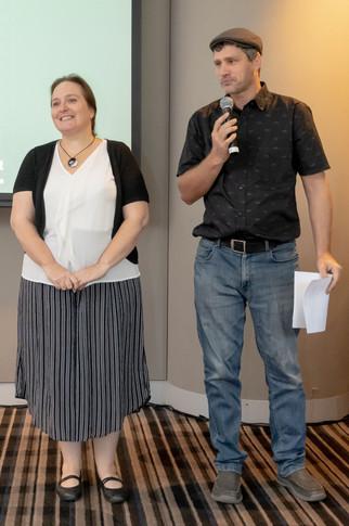 Sonia Gava DSA 2019 with Nathan Schulz - Alliance executive reading her citation