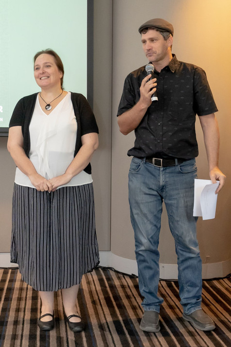 Sonia Gava DSA 2019 with Nathan Schulz - Alliance executive reading her citation