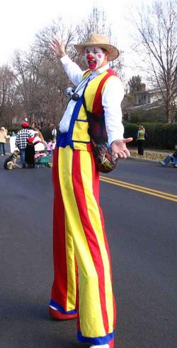 atlanta stilt walking clown