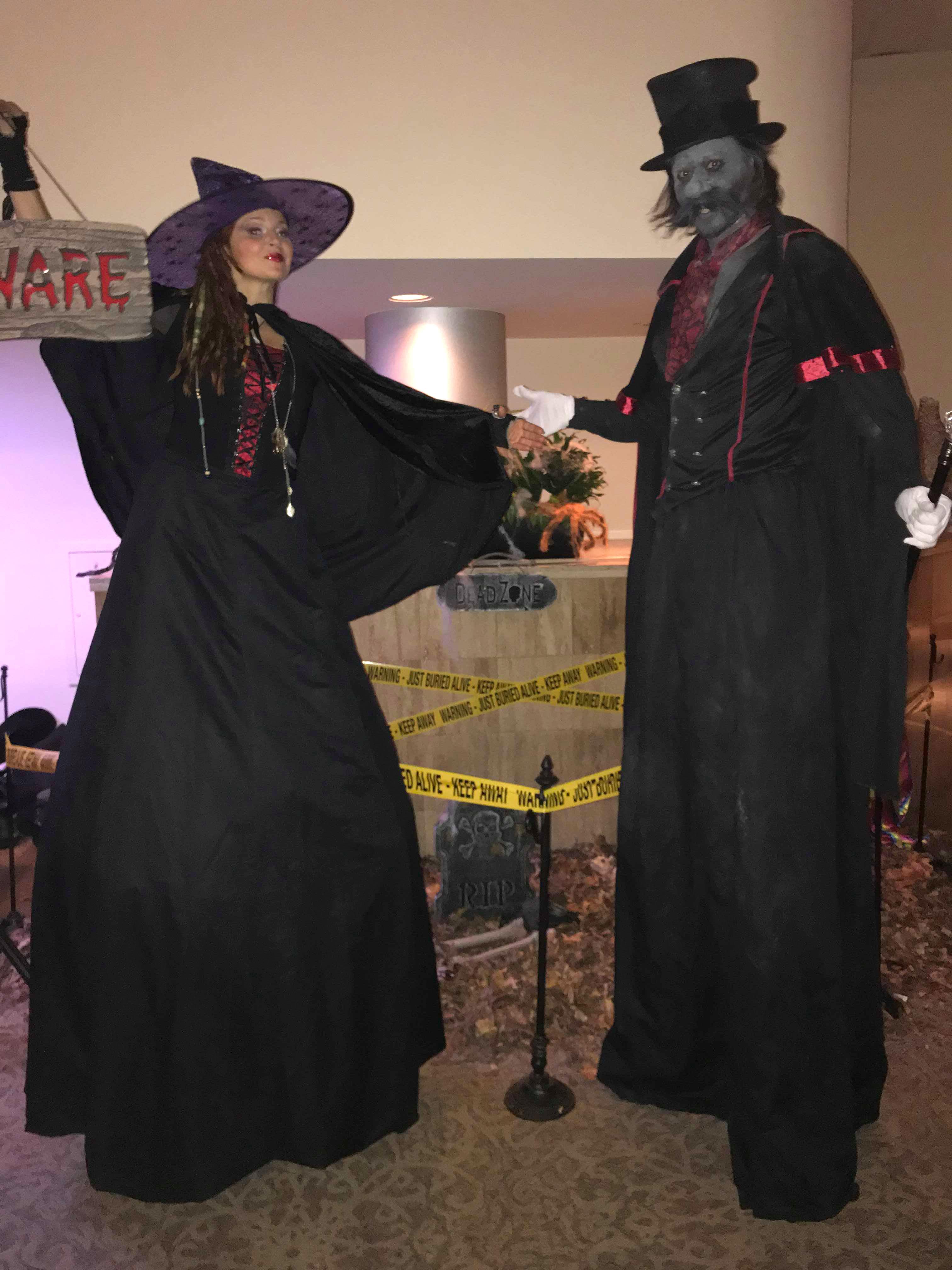 Friendly Witch & Silly Zombie Stilts