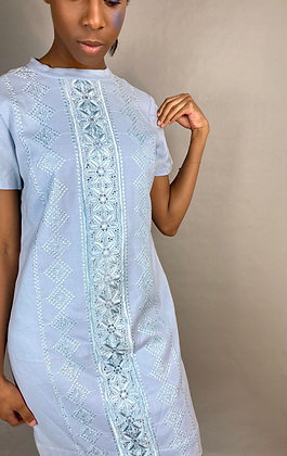 Embroidered Blue Shift Dress