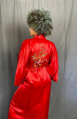 Fire Red Silk Kimono