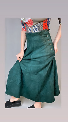 Bewitching Suede Green Maxi Skirt