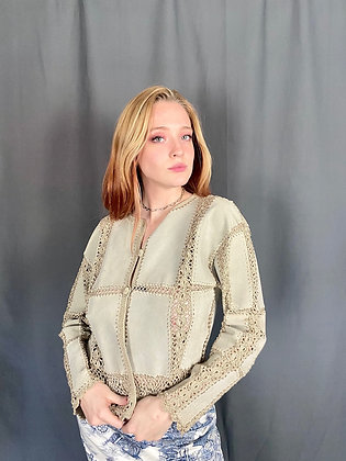 Crochet Suede Panel Jacket