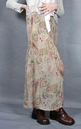 70s Print Lightweight Maxi Skirt