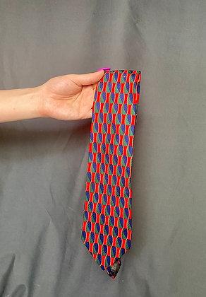 Red Waves Geo Print Tie