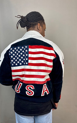 Leather and Suede USA Bomber