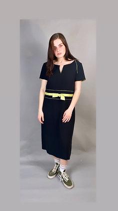 Lime Bow Black Dress