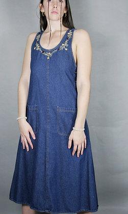 French Braids Embroidered Denim Dress
