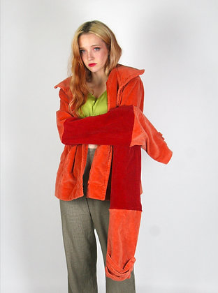 Whimsical Orange and Red Loong Sleeve Jacket