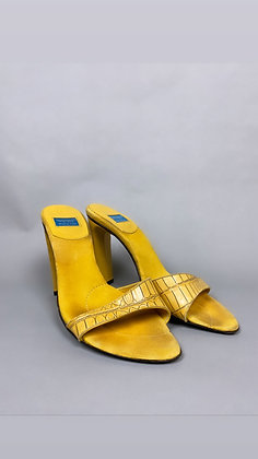 Yellow Snakeskin Italian Heel