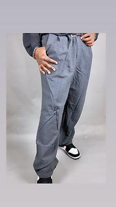 Grey Micro Plaid Dress Pant