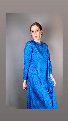 Groovy Blue 70s Longsleeve Dress