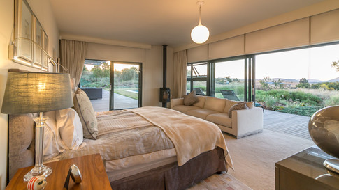 Interior bedroom with a view