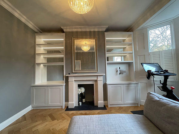 bespoke fitted furniture, London, clapham alcove, alcove cabinets richmond, alcove shelving, alcove bookcases, wimbledon, putney alcoves cabinetry