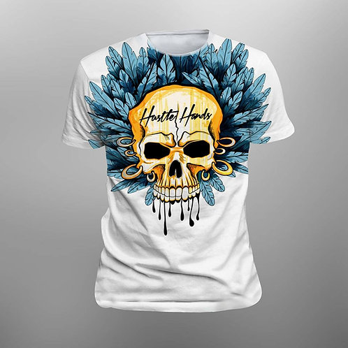 White Shirt, Yellow Skull, Blue Feathers Front View
