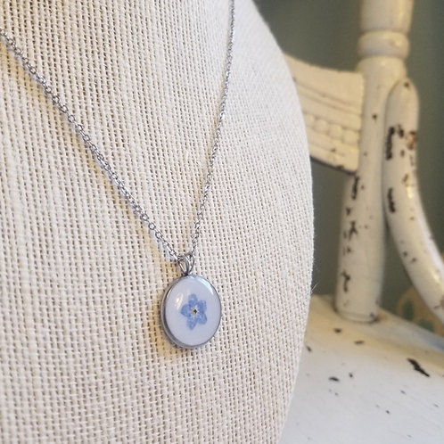 Forget Me Not: 16mm Flat Pendant Stainless Steel