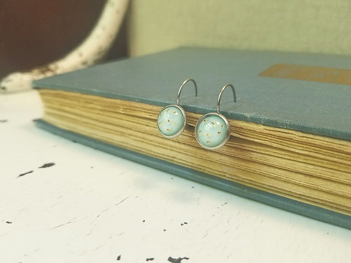 Queen Anne's Lace: Lever Back Earrings - Stainless Steel, Small Bezel