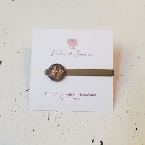 Copy of Copy of Copy of Queen Anne's Lace (Dyed Pink): Antiqued Brass Tie Clip