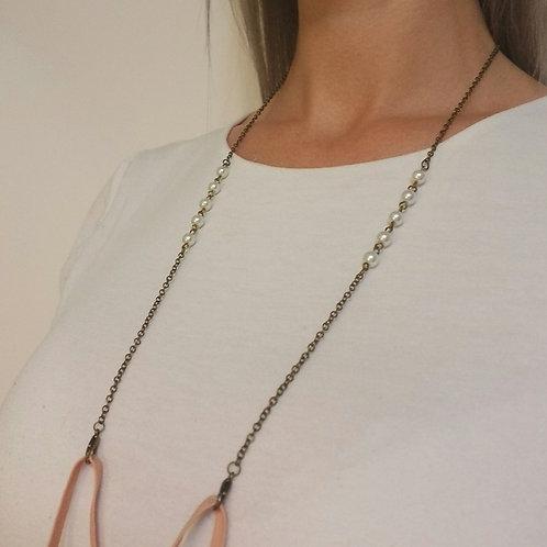 Mask Lanyard: Medium Pearls, Antiqued Brass
