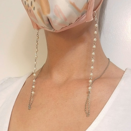Mask Lanyard: Small Pearls, Stainless Steel