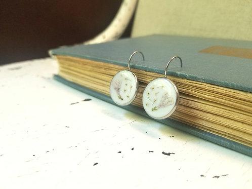 Queen Anne's Lace + Twin Flower: Lever Back Earrings - Stainless Steel, Lar
