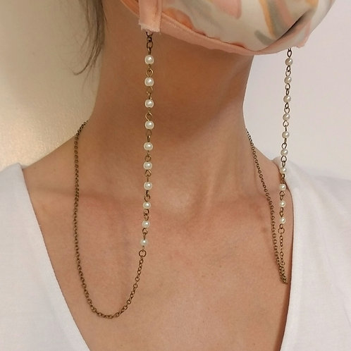 Mask Lanyard: Small Pearls, Antiqued Brass