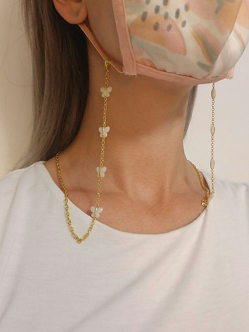Mask Lanyard: Butterfly Beads, Gold