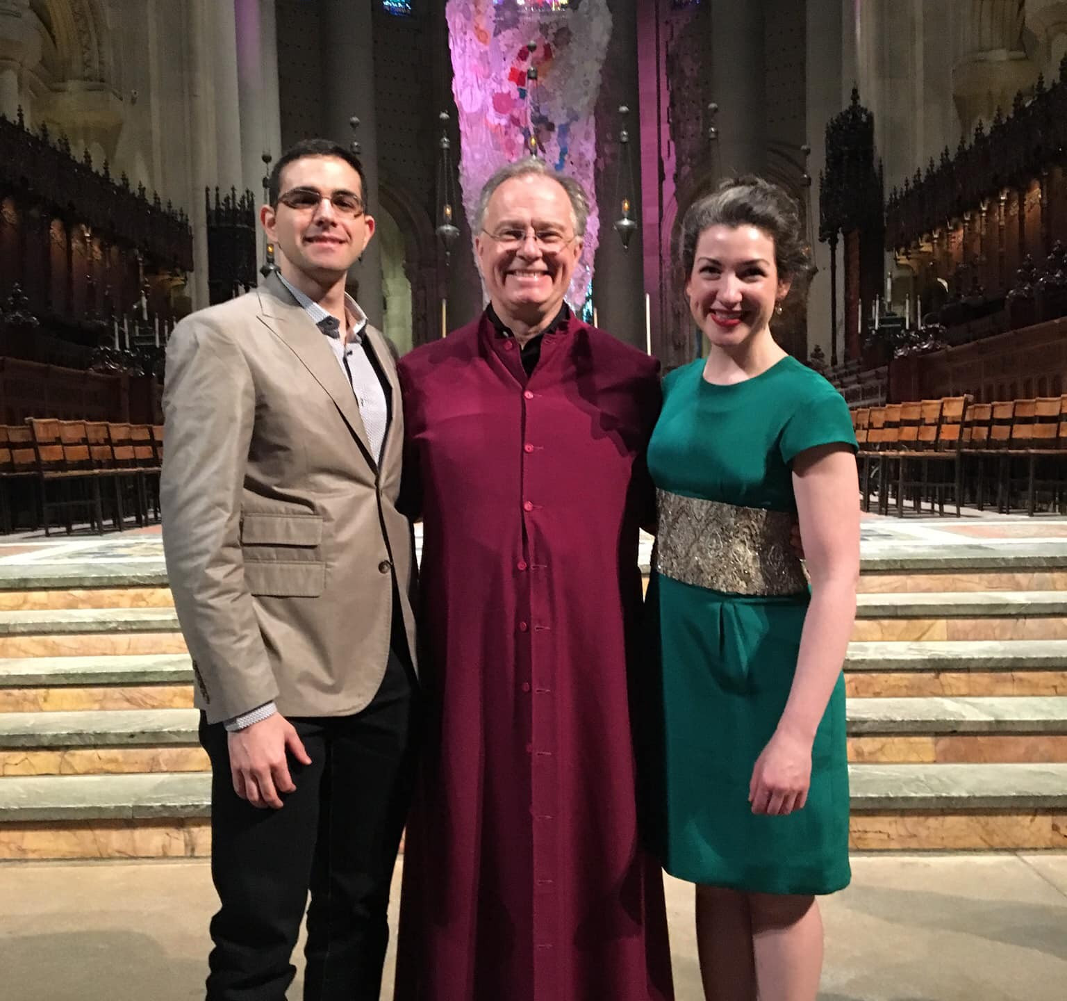 Aris (left) with Maestro Kent Tritle (center) and organist Shannon Murphy (right)