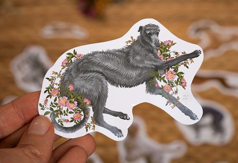 Deerhound Wild Rose Sticker