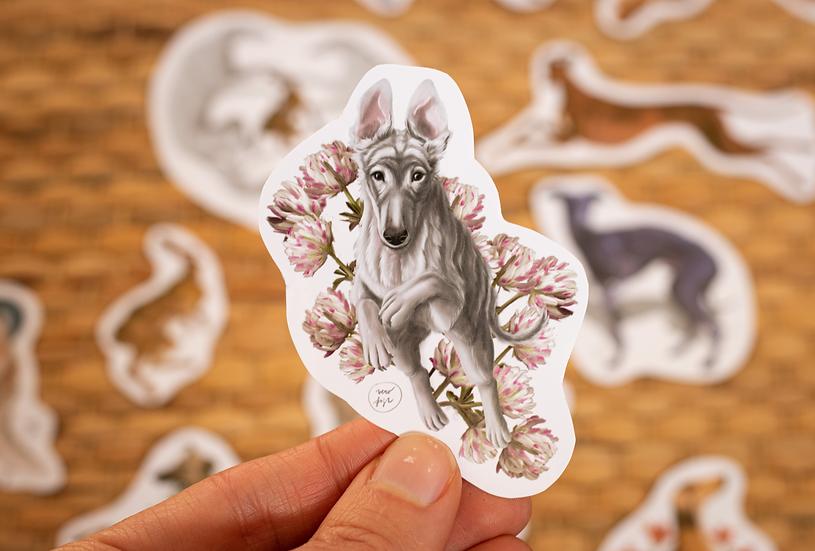 Borzoi Puppy Sticker