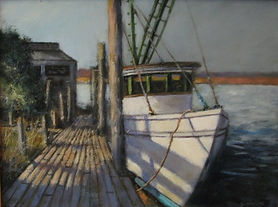 Edisto island shrimp fishing boat painting