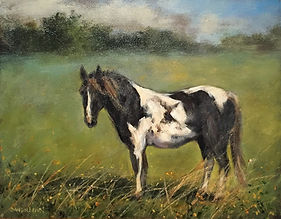 horse in field painting