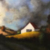 White barn sunset storm painting