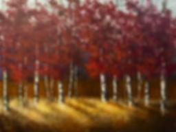 Fall shadows birch trees painting