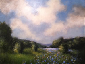 wildflower field clouds painting