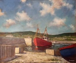 Ireland fishing boats harbour painting