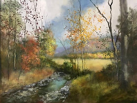 Cades Cove Fall stream Smokey mountains painting