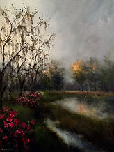 marsh sunset azaleas painting