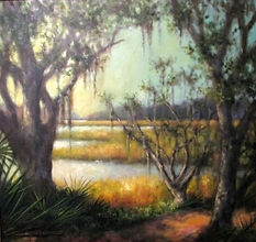 low country marsh spanish moss painting